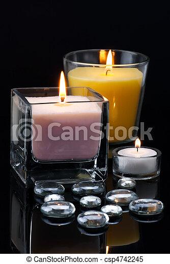 Kerzen Dekoration.Dekoration Kerzen Tropfen Brennender Glas Brennender