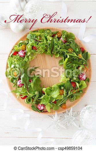 Salat Weihnachten.Dekoration Kranz Weihnachten Salat
