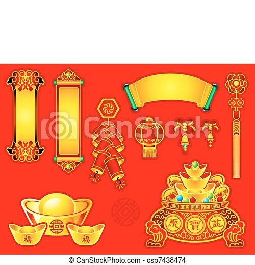 Dekoration, neu , chinesisches , jahr. Rollen, glocken, chinesisches ...