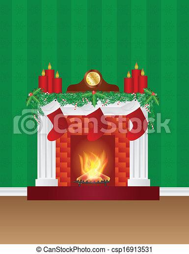 dekoration, tapete, kaminofen, weihnachten, abbildung - csp16913531