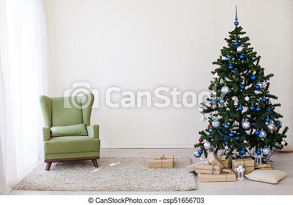 Dekoration, weißes, baum, zimmer, weihnachten.