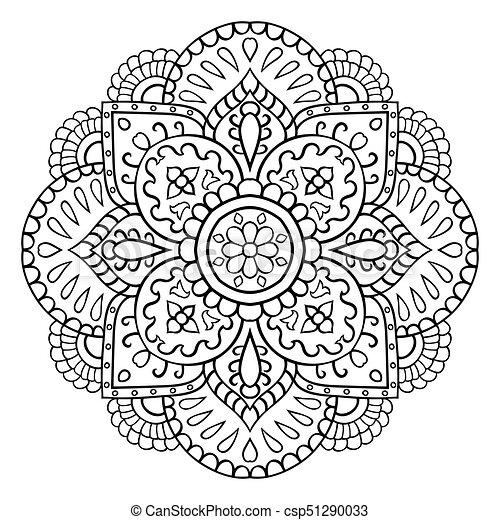 Dekorativ, abstrakt, mandala. Abstrakt, ornament., flowers ...