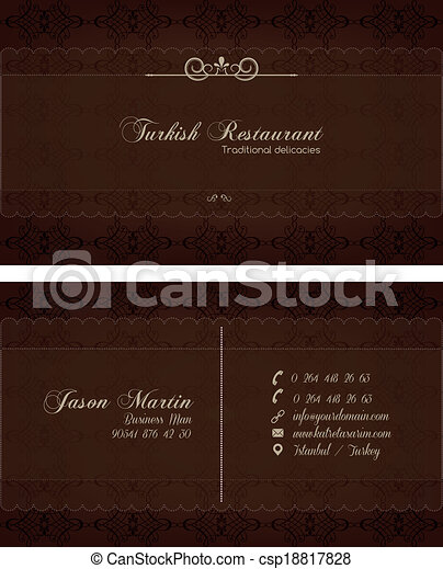 dekorativ, affärskort, restaurang - csp18817828