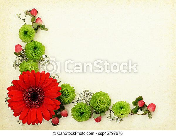 Dekorativ, altes , papier, grün, ecke, weisse blumen, rotes... Bild ...