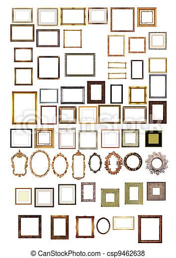 dekorativ, bild rahmt, gold, muster - csp9462638