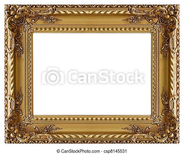 dekorativ, bilderrahmengold, muster - csp8145531