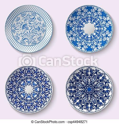 dekorativ blaues stil satz chinesisches geschirr muster porzellan - Geschirr Muster