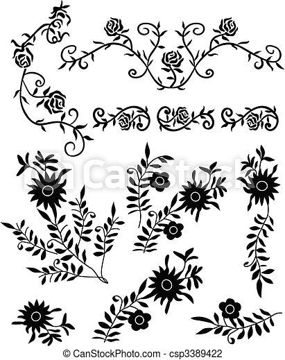dekorativ, blume, rolle, aufwendig - csp3389422