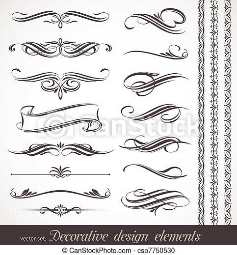 dekorativ, dekor, elementara, &, vektor, design, sida - csp7750530