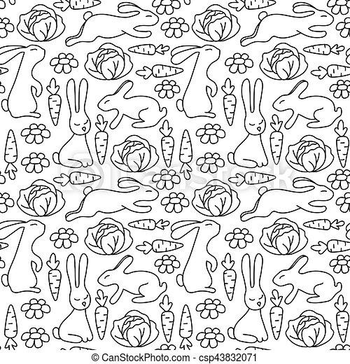 Dekorativ, färbung, muster, pattern., kaninchen, book.,... Vektoren ...