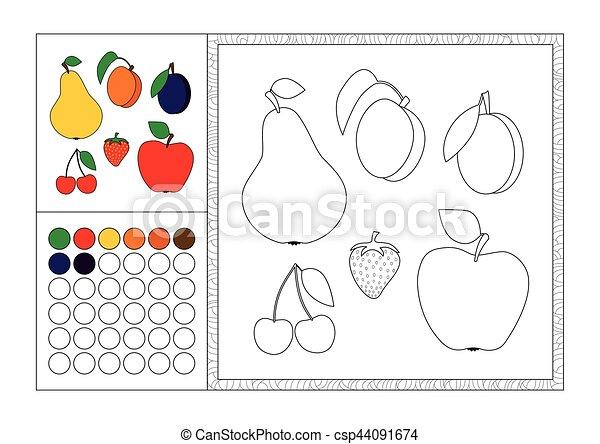 Dekorativ, farbe, rahmen, erdbeer, kontur, schablone,... Vektoren ...