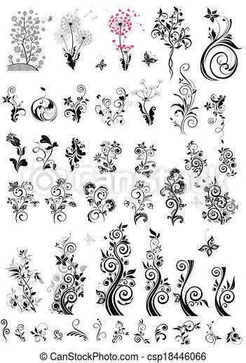 dekorativ, floral elemente, design, ( - csp18446066