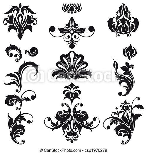 dekorativ, floral elemente, design - csp1970279