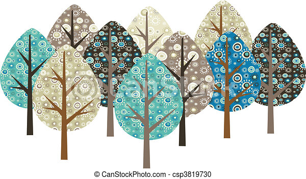 dekorativ, grunge, bäume - csp3819730