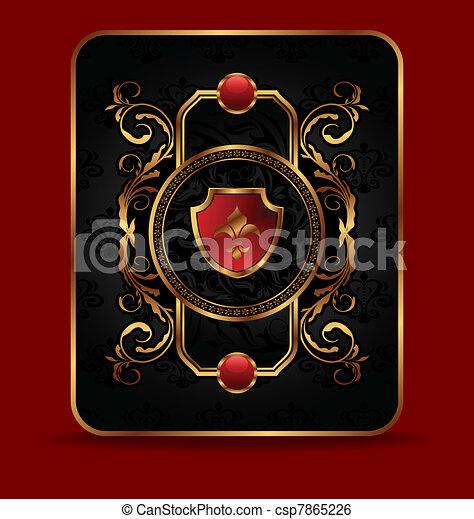 dekorativ, gyllene, ram, utsirad - csp7865226