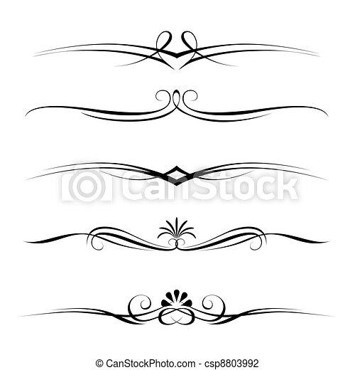 dekorativ, härskar, gräns, elementara, sida - csp8803992