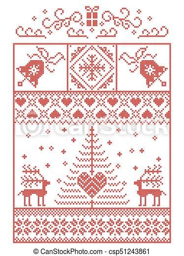 Dekorativ, herzen, stil, nähen, winter, skandinavisch,... Clipart ...