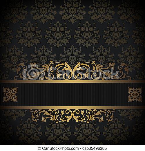 dekorativ hintergrund schwarz gold gold weinlese altmodisch ornament muster. Black Bedroom Furniture Sets. Home Design Ideas