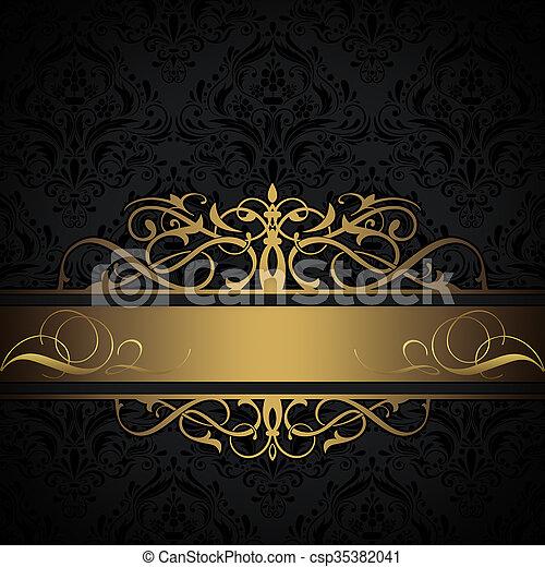 dekorativ hintergrund schwarz gold dekorativ gold muster altmodisch border elegant. Black Bedroom Furniture Sets. Home Design Ideas