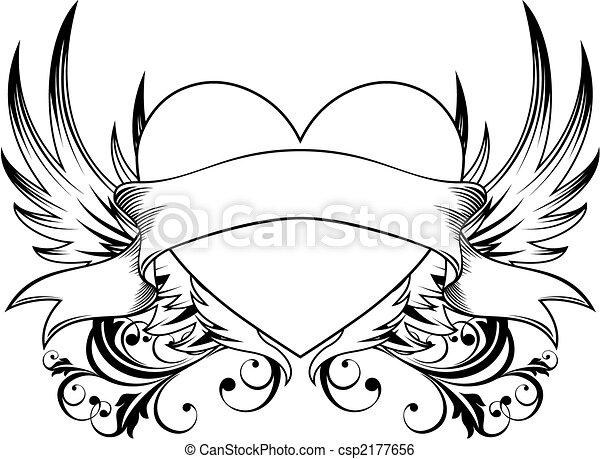 dekorativ, hjärta, emblem - csp2177656