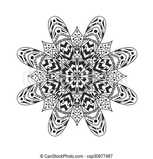 Dekorativ, mandala., abstrakt, elements., ethnisch.... Vektor ...