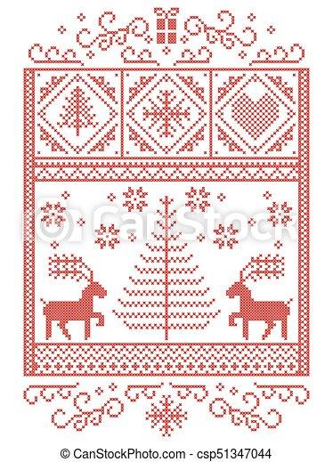 Dekorativ, nähen, stil, winter, herzen, skandinavisch, muster ...
