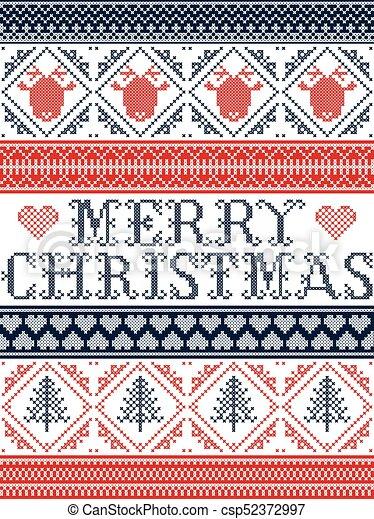 Frohe Weihnachten Norwegisch.Dekorativ Norwegisch Stoff Herz Festlicher Stich Winter Inspiriert Rentier Kreuz Seamless Fröhlich Baum Blaues Verzierungen Muster