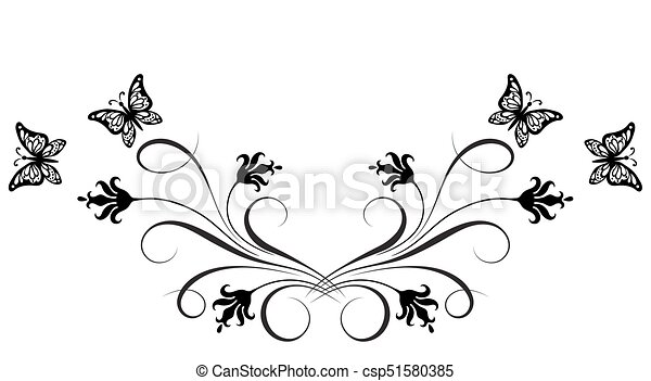 dekorativ, papillon, verzierung, blumen-, ecke, blumen - csp51580385