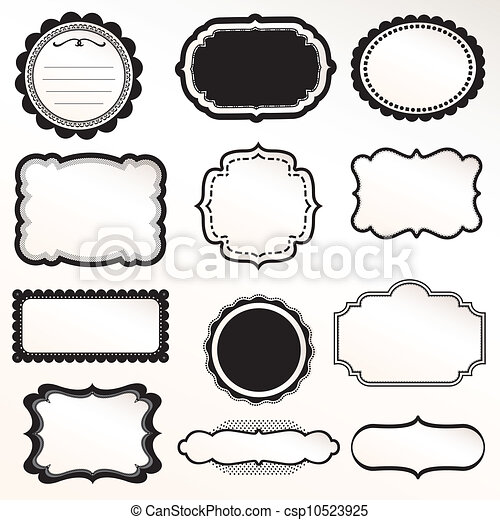 dekorativ, rahmen, vektor, satz, weinlese - csp10523925