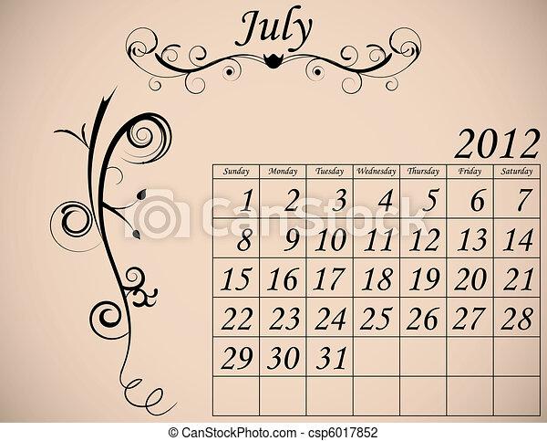 dekorativ, sätta, 2, kalender, fanfar, juli, 2012 - csp6017852