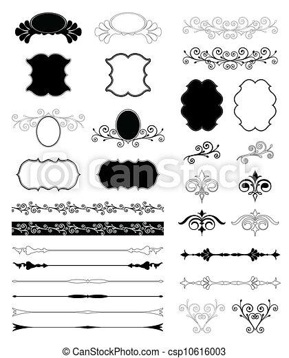 dekorativ, satz, elements., vektor, design, blumen- - csp10616003