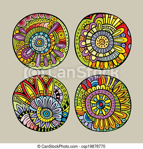 dekorativ, set formge, elementara - csp19878770