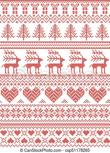 Dekorativ, stil, nähen, winter, skandinavisch, muster,... Clipart ...