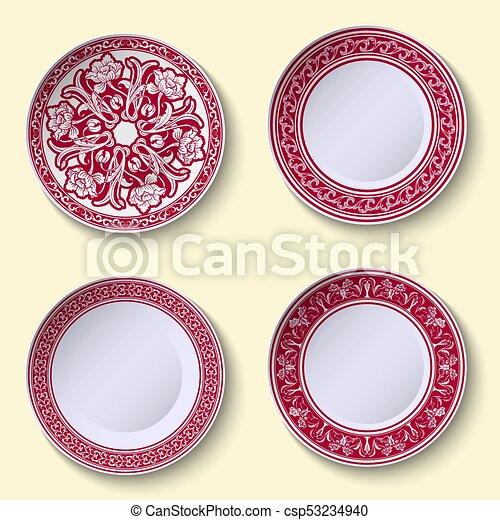 dekorativ stil satz chinesisches geschirr muster porzellan porcelain - Geschirr Muster