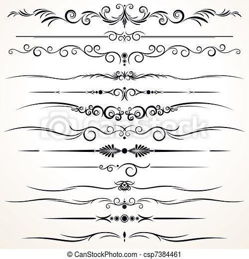 dekorativ, verschieden, linien, regieren, design - csp7384461