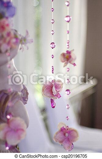 dekorativ, vorhang, perlen, blumen, wedding - csp20196705
