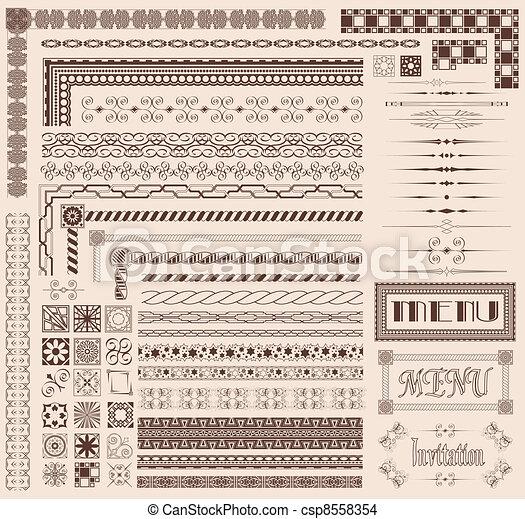 dekorative elemente, umrandungen - csp8558354