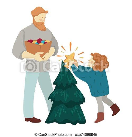dekorieren, kind, weihnachten zusammen, baum, vater - csp74098845