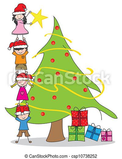 dekorowanie, tre, dzieci, boże narodzenie - csp10738252