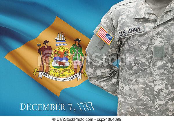 delaware, -, állam, bennünket, katona, lobogó, háttér, amerikai - csp24864899