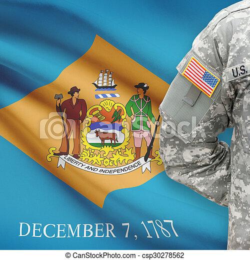 delaware, -, állam, bennünket, katona, lobogó, háttér, amerikai - csp30278562
