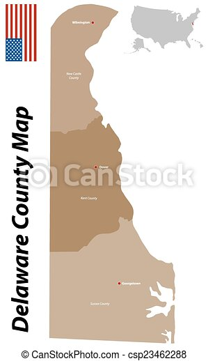 Delaware county map. A large and detailed map of the state of ... on