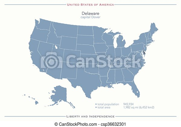 Delaware. United states of america isolated map and delaware state on