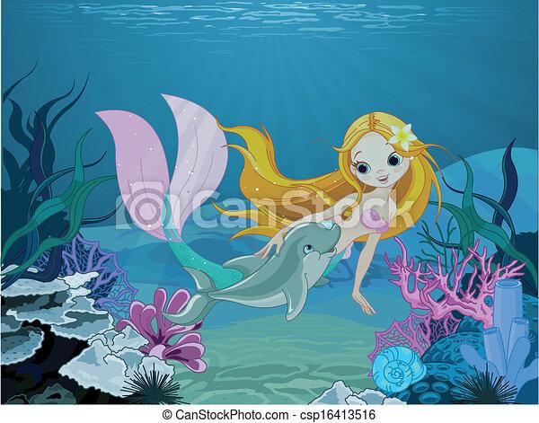 delfin, havfrue, baggrund - csp16413516