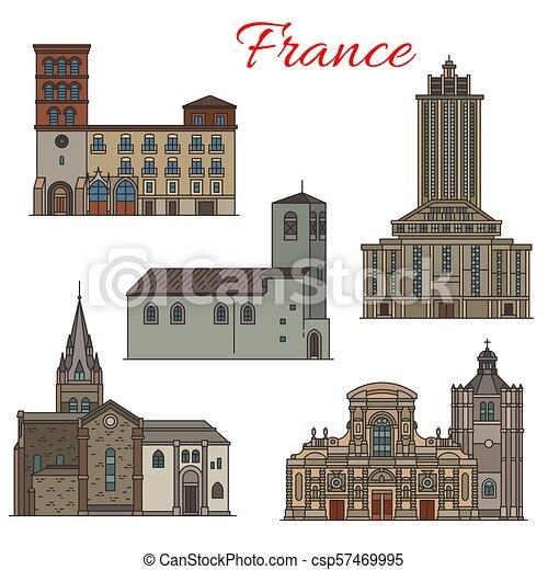 La arquitectura francesa viaja con un icono de línea delgada - csp57469995