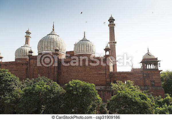 delhi, vieux, india., masjid, jama, mosquée - csp31909166
