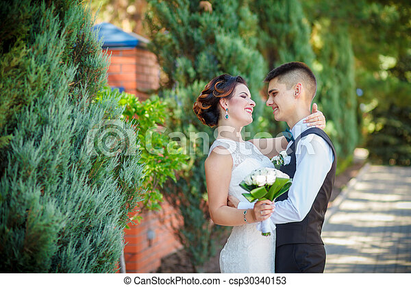 Delicate bride and groom - csp30340153