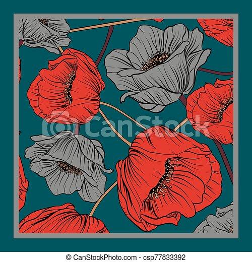 Delicate colors of silk scarf - csp77833392