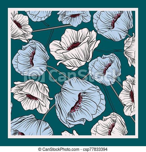 Delicate colors of silk scarf - csp77833394