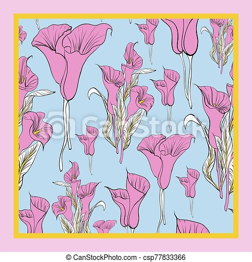 Delicate colors of silk scarf with flowering callas. - csp77833366